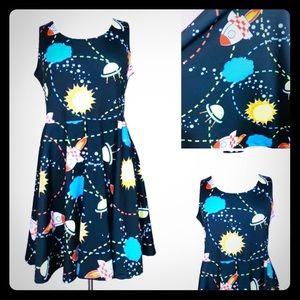 CowCow Space Print Sleeveless Midi XL Dress